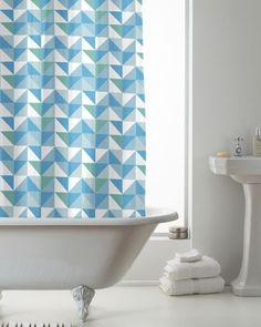 Modern Makeover Hookless Shower Curtain, Geometric Blue, White & Green