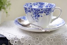 Shelly's Dainty Blue-Leandra started me down this path. I love this china! the sweet cups  are scalloped on the edge.  The flower pattern is soooooo precious!