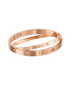 Cartier rose gold with pink sapphires and diamonds - definitely a perfect Valentine's Day gift! Sapphire Jewelry, Sapphire Diamond, Diamond Jewelry, Love Bracelets, Cartier Love Bracelet, Bangles, Jewelry Bracelets, Luxury Gifts For Women, Diamonds And Gold