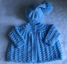 New Hand knitted  Baby Boys Blue  Matinee cardigan and Pixie Hat fits 0-3 months