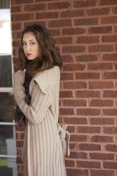 cozy cardigan, long neutral sweater