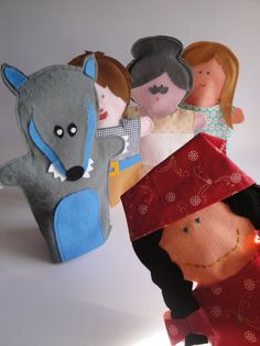 Items similar to Little Red Riding Hood felt hand puppet Set - handmade in Italy - on Etsy