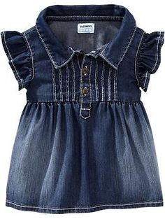 Pintucked Denim Tunics for Baby  Old Navy