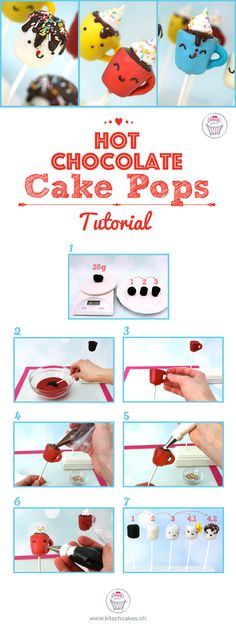 Hot Chocolate Mug Cake Pops Tutorial! So adorable for a winter sweet table ! Love this cakepops.