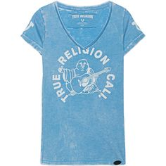 TRUE RELIGION True Buddha Heritage Blue // T-shirt with print (3,570 DOP) ❤ liked on Polyvore featuring tops, t-shirts, print top, true religion tee, blue print top, burn out tee and form fitting tops