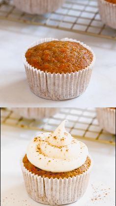Carrot cake cupcakes are moist, flavorful cakes topped with rich cream cheese frosting. Share this recipe with your friends and family for Easter or birthdays! Best Carrot Cupcake Recipe, Carrot Cake Cupcakes, Easy Cupcake Recipes, Fun Baking Recipes, Sweet Recipes, Cupcake Cakes, Dessert Recipes, Food Cakes, Frosting For Carrot Cake