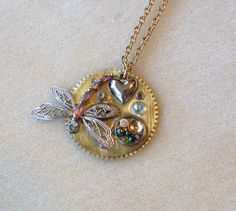 Springtime Dragonfly Necklace by TimeMachineJewelry on Etsy, $30.00