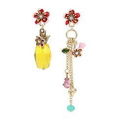 Betsey Johnson® Pineapple & Multi Charm Mismatch Drop Earrings