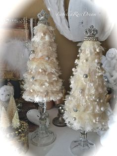 Christmas tree shabby chic tree Christmas decor Christmas