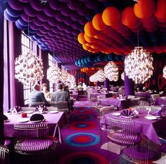 The dining room of Restaurant Varna, in the Varna Palace, Aarhus, kitted out by Verner Panton in the early 1970s.