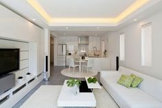 merveilleuse idée déco petit salon zen, table à café blanche, fauteuil blanc, ambiance sereine