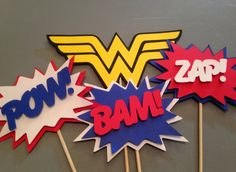 Wonder Woman Centerpiece, 4 pc, Superhero party, Wonder Woman  Party, Wonder Woman  Birthday Party on Etsy, $10.00