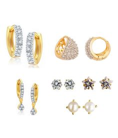 Buy Parijaat White American Diamond Earrings Combo Of 6