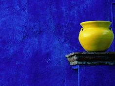 size: Photographic Print: Yellow Pot and Blue Wall Poster by Douglas Steakley : Artists Shades Of Yellow, Blue Yellow, Dark Blue, Mexican Colors, Mexican Style, Download Wallpaper Hd, Happy Colors, Blue Walls, Electric Blue
