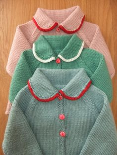 Beautiful colors - Vintage style hand knitted teal and red baby jackets/cardigans. by TillyandLola