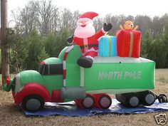 New Long Lighted Christmas Santa 18 Wheeler Truck Airblown Inflatable Blow-up Outdoor Christmas, Christmas Lights, Christmas Fun, Christmas Ornaments, Halloween Decorations, Christmas Decorations, Yard Decorations, Holiday Decor, Thanksgiving Wishes