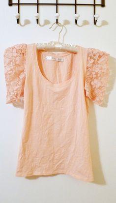 Zara Blush Pink Lace T-Shirt - $18.00