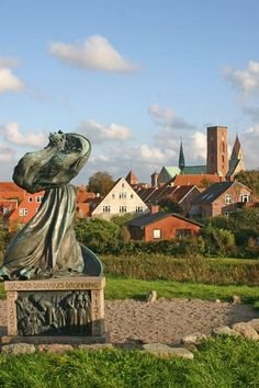 ribe denmark - statue of queen dagmar in the foreground