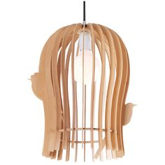 Modern Style Slender Birdcage Wooden Pendant Light ($138) ❤ liked on Polyvore featuring home, lighting, ceiling lights, bird cage lamp, wood shades, modern lamps, modern pendant lighting and bird cage pendant light