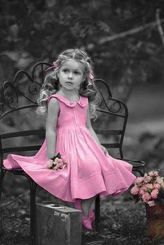 Splash of color in pink / little girl
