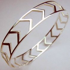 I've been feeling the need for a gold bangle or two of late, and this would do nicely. Gold Chevron, Chevron Ring, Fashion Accessories, Jewelry Accessories, Fashion Jewelry, Gold Bangles, Cuff Bracelets, Gold Ring, Chevron Bracelet