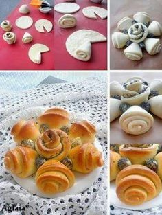 Roll puff pastry (filled w/ jam) Bread flower Bread Recipes, Cooking Recipes, Pastry Design, Bread Shaping, Bread Art, Bread And Pastries, Food Decoration, Sweet And Salty, Creative Food