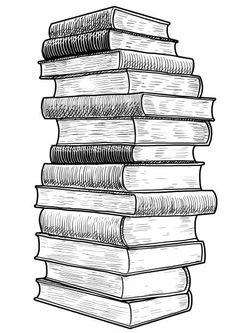 Crystal Drawing, Line Art Vector, Book Drawing, Bullet Journal Art, Book Tattoo, Encaustic Art, Landscape Drawings, Aesthetic Drawing, Stack Of Books