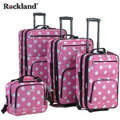 @Overstock - Travel in style with this pink four-piece polka-dotted luggage set by Rockland. This fashion print, expandable luggage features a smooth inline skate wheel system. This set displays a pink polka-dot pattern for women of any age to enjoy.http://www.overstock.com/Luggage-Bags/Rockland-Pink-Dot-4-piece-Expandable-Luggage-Set/3297822/product.html?CID=214117 Add to cart to see special price