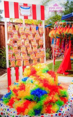Clown wigs and prizes at a Circus Birthday Party!  See more party ideas at CatchMyParty.com!