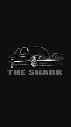 the shark Bmw E21, Car Prints, Most Popular Cars, Car Design Sketch, Car Illustration, Mercedes Benz Amg, Car In The World, Black Wallpaper, Car Wallpapers