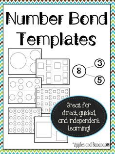 FREEBIE - Number Bond Templates in 3 different sizes (circle and square formats).   Great for teaching part/part/whole relations, fact families, basic algebraic concepts, and more!  Use for whole group, guided, small group, or individual instruction. #numberbonds #mathtemplates #numberbondtemplates
