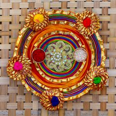 Buy or Send fancy Rakhi Thali and traditionally designed Rakhi pooja Thali decorated with velvets, roli, rice, gotta borders, beaded strings, deepak, god idols and many more decorative items.