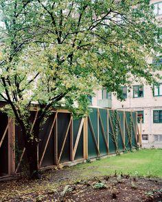 johansen skovsted transforms common courtyard into a community space in copenhagen Garbage Shed, Farm Shed, Garden Pavilion, Community Space, Top Soil, Green Landscape, Steel Structure, Skylight, Vegetable Garden