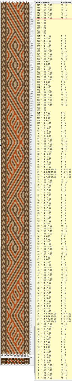 20 cards, 3 colors, complete pattern is 140 rows, GTT༺❁ Inkle Weaving, Inkle Loom, Card Weaving, Weaving Art, Tablet Weaving Patterns, Loom Patterns, Finger Weaving, Willow Weaving, How To Make Rope