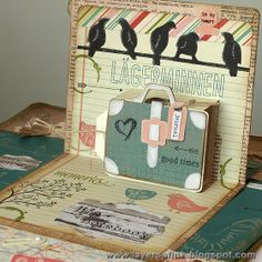 Anna-Karin Evaldsson using the Pop 'n Cuts Suitcase insert, companion Bigz Suitcase die and the Birds on a Wire Sizzlits strip. CSI case file 87 - Layers of ink