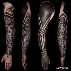 Search inspiration for a Geometric tattoo. Badass Tattoos, Leg Tattoos, Arm Tattoo, Body Art Tattoos, Tribal Tattoos, Sleeve Tattoos, Geometric Tattoo Pattern, Geometric Sleeve Tattoo, Tattoo Sleeve Designs