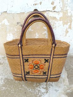 1960s French embroidered raphia basket