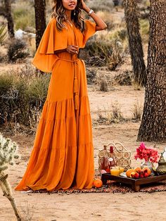 Orange Ruffle Pleated Belt Bohemian Beachwear Boho Party Maxi Summer Dress - Maxi Dresses - Dresses Source by boho Holiday Dresses, Spring Dresses, Orange Party, Maxi Robes, Boho Outfits, Bohemian Maxi Dresses, Maxi Dress Outfits, Formal Outfits, Swag Dress