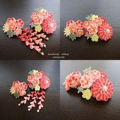 桜桃色花飾り つまみ細工 三点セット コーム かんざし 振袖 和装髪飾り 成人式 結婚式