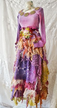 Dress,upcycled ,Bohemian Gypsy Victorian Gothic Shabby Chic Boho Hippy Ruffle ,fairy dress Spring Forest