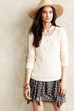 Cabled Ivory Pullover - anthropologie.com