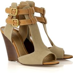 Chloé Wood and canvas wedges ($675) ❤ liked on Polyvore