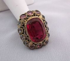 RARE Vintage Hobe Filigree Rhinestone Ring Red Pink Clear Stones | eBay