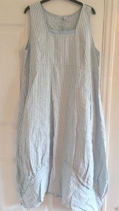 Italian Lagenlook Quirky Striped Balloon Shaped Boho Tulip Stripe Linen Dress | eBay