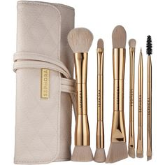 SEPHORA COLLECTION Double Time Double-ended Brush Set (£50) ❤ liked on Polyvore featuring beauty products, makeup, makeup tools, makeup brushes, set of brushes, angled eyeshadow brush, sephora collection, angled makeup brush and blush brush