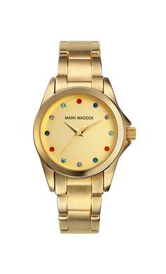 Reloj tres agujas brazalete con acabado IP Dorado y cierre desplegable. Esfera con incrustaciones de diferentes colores. Cristal mineral e impermeable 30m (3ATM).