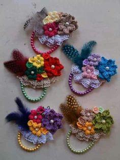 Picture of Mini Broom Dolls 1 Crochet Pattern Leaflet Crochet Coin Purse, Crochet Brooch, Crochet Motif, Crochet Earrings, Crochet Flower Patterns, Crochet Flowers, Crochet Hair Accessories, Fabric Flower Brooch, Crochet Girls