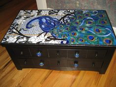 Mosaic Peacock on top of Chest..looks fantastic!