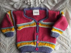 Baby Girl Cardigan. Pink and Stripes by ArdSolas on Etsy, £15.00
