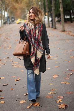 flare-jeans + checked Zara scarf